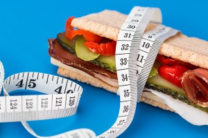 diet sandwich and tape measure