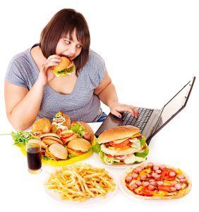 woman eating lots of food
