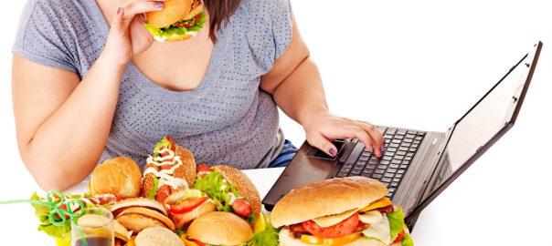woman eating lots of food