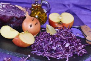 red cabbage and onions